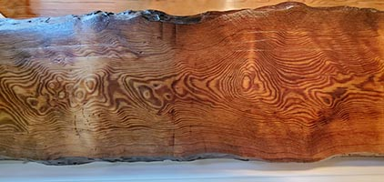 Antique Curly Heart Pine Wood Top Live Edge